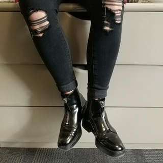 Zara Patent Leather Zip Up Boots