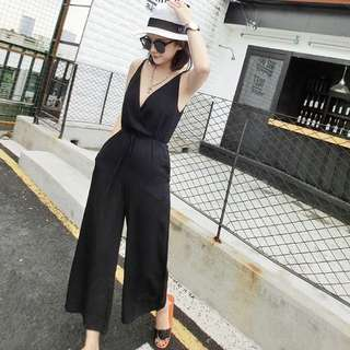 High Quality Korean Black Strap Sleeveless Lady Shopping High Tea Romper Jumpsuit