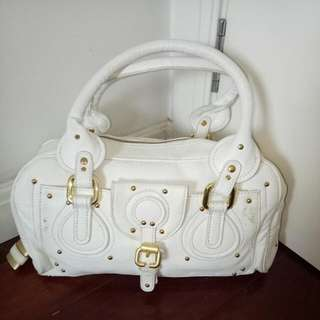 White With Gold Hardware Lock And Key Women's / Ladies Fashion Inspired Handbag