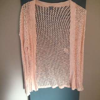 light pink crochet cardigan