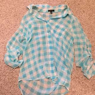Blue Plaid Blouse