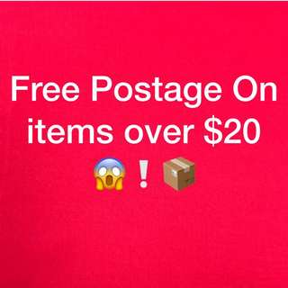 Free Postage On Items Over $20