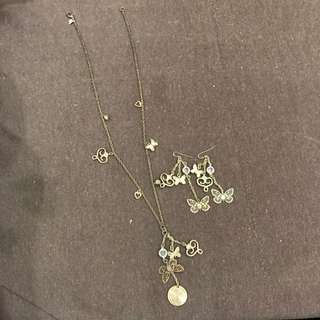 Butterfly Bronze-looking Dangle Necklace And Earrings