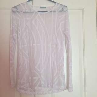 Kookai Sheer Top Long Sleeve Size 1 Small