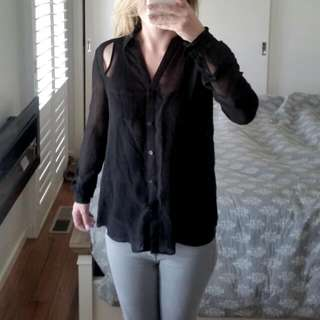 Forever New Sheer, Cut Out Shirt.size 6