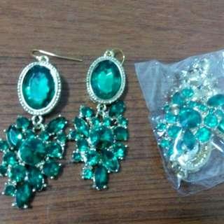翡翠綠 祖母綠 吊墜耳環
