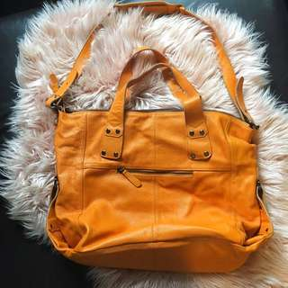 Anizoe Large Leather Tote In tangerine