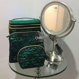 Led Mirror With Quo Makeup Bag Set