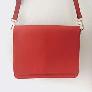 Brand New Red Faux Leather Bag