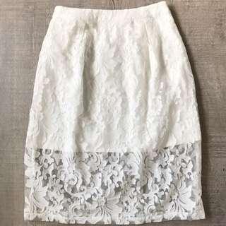 BLUSH White Lace Skirt