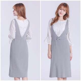 V領蝴蝶結裝飾針織洋裝(灰色S號)