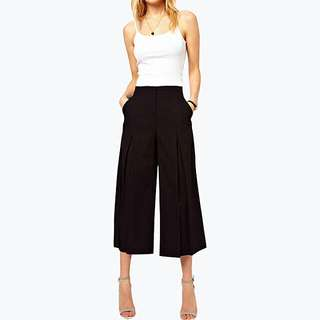 Black Chiffon Culottes Wide Leg Pants