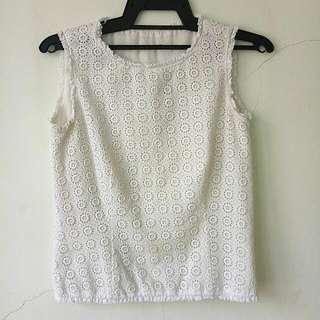 Daisy Flower Sleeveless White Top Shirt