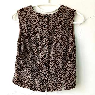 Leopard Print Sleeveless Side Slit Crop Top