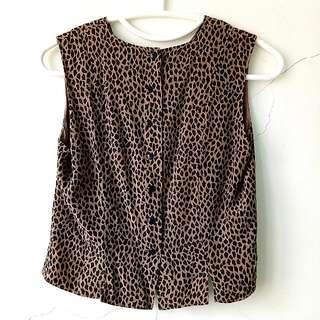 Leopard Print Sleeveless Side Slit Top
