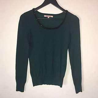Review Size 8 Women's Forest Green Long Sleeve Knit