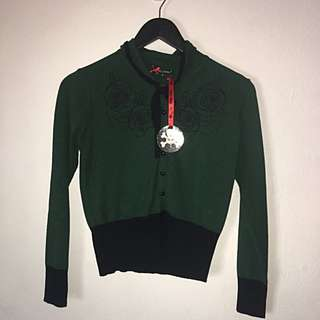 Hell Bunny Brand New With Tags Green And Black Cardigan Small
