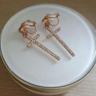 十字夾式耳環