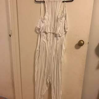White With Pin Stripes Jumpsuit
