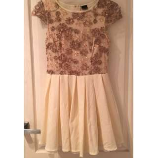 Princess Polly Gold & Cream Lace Dress