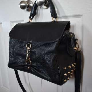 Leather-look gold studded handbag