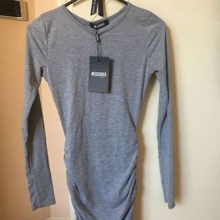 Missguided Runched Bodycon Mini Dress - Size 6 Grey
