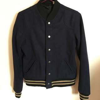 Navy With Gold Stripes Varsity Jacket From Urban Outfitters