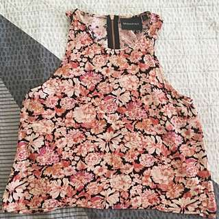 MINKPINK PINK FLOWER TOP WITH ROSE GOLD ZIPPER