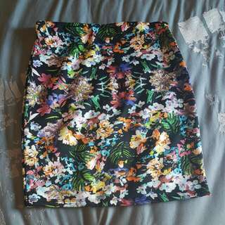 BERSHKA Floral Mini Pencil Skirt