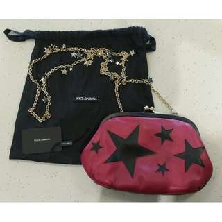 Dolce and Gabbana Star Constellation pink leather bag NEAR MINT