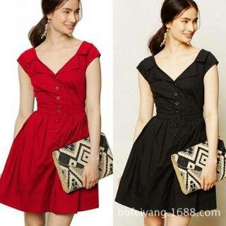 短袖翻領不規則露腰收腰顯瘦洋裝 紅色 M