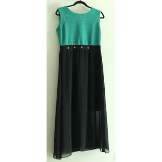 Green and black CLN dress