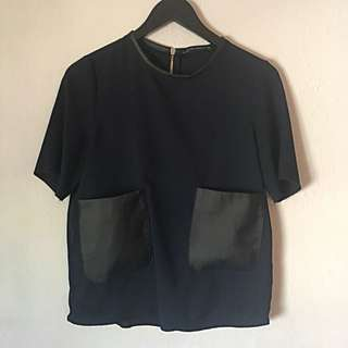Zara Navy Short Sleeve Zara Woman Top Small