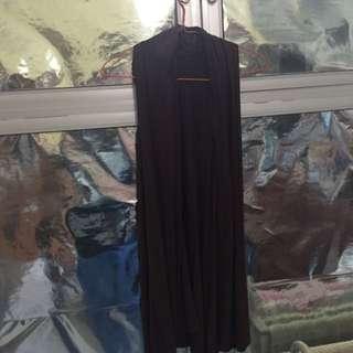 Dark Brown Preloved Long Cotton Vest #tisgratis