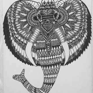 Detailed Elephant Painting