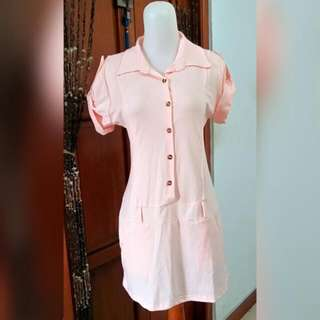 Long Top/Mini Dress Baby Pink With Belt