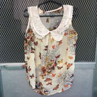 Chiffon Sleeveless Top with Butterfly Prints