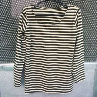Moss Green Stripes Pullover