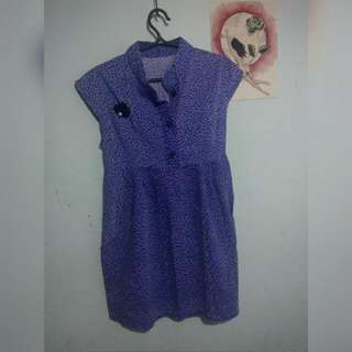semi chinese collar blue floral dress (size S/M)