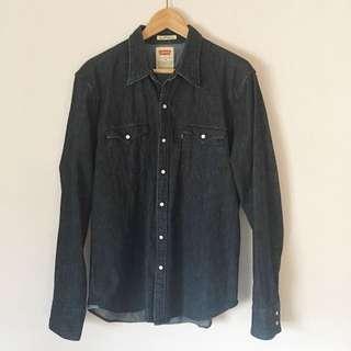 Levi's Dark Denim Long Sleeve Men's Shirt Size Large