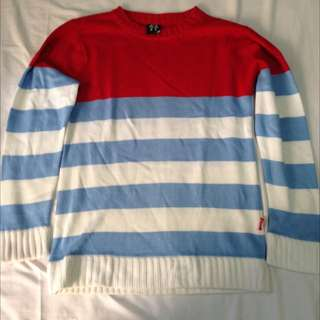 Sweater Red/SkyBlue/White MGP Size L