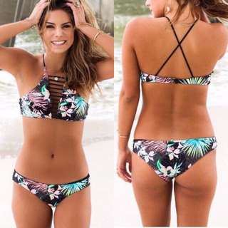 FREE SF and COD Two 2 Piece Reversible High Neck Floral Bikini Top with Criss Cross Back Swimsuit Beachwear Set _RX35