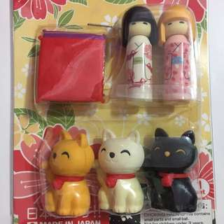 Japanese doll and lucky cat erasers