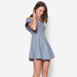 Zalora Love Button Down Off Shoulder Dress
