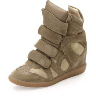 [FREE POSTAGE] Inspired Isabel Marant Sneaker Wedges in Khaki