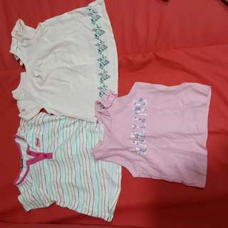 Preloved. 2 Poney Tops With Sleeves (6-12mth).1 Fox Sleeveless (12-18mth)