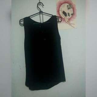 black sleeveless half see-through top (size S/M)
