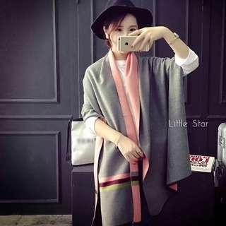 素色條紋 質感百搭款圍巾