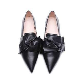 真皮尖頭造型純手工平底女鞋