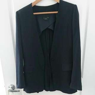 Navy Silk Collarless Blazer, Boyfriend Style, Club Monaco
